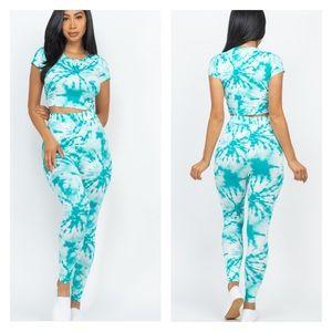 Aqua Tie Dye Crop Top Leggings Set